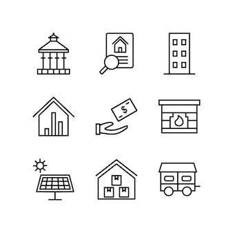 Ensemble d'icônes de biens immobiliers pour un usage personnel et commercial