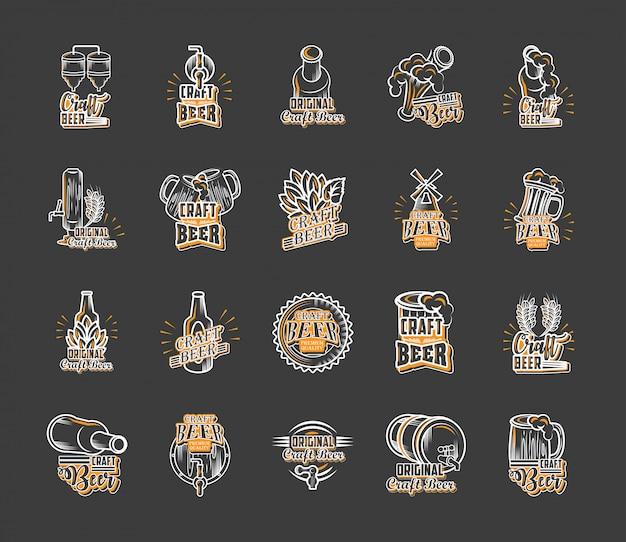 Ensemble d'icônes de bière artisanale