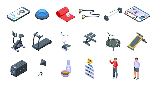 Ensemble d'icônes de blog de remise en forme. ensemble isométrique d'icônes vectorielles de blog fitness pour la conception web isolé sur fond blanc