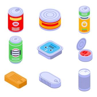 Ensemble d'icônes de boîte de conserve, style isométrique