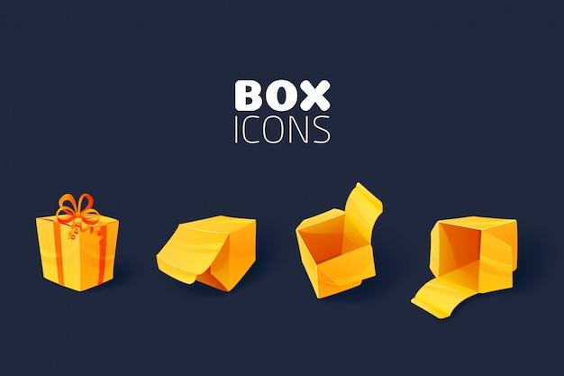 Ensemble d'icônes de boîte