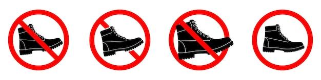 Ensemble d'icônes de bottes d'interdiction isolé sur blanc