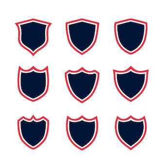 Ensemble d'icônes de bouclier avec contour rouge