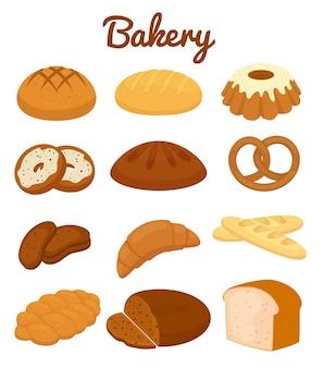 Ensemble d'icônes de boulangerie colorées représentant des muffins de bretzels miches de pain