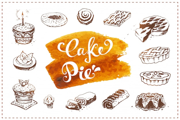 Ensemble d'icônes de boulangerie dessinés à la main. croquis de nourriture