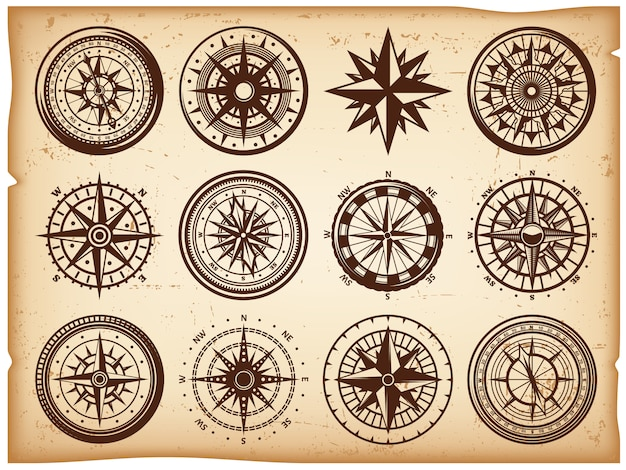 Ensemble d'icônes de boussoles nautiques vintage