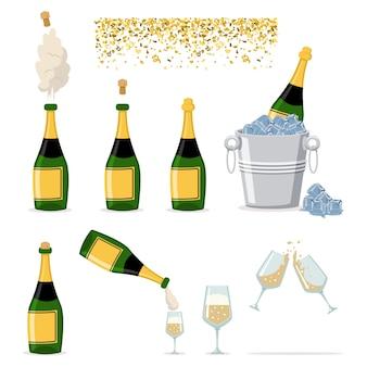 Ensemble d'icônes de bouteille de champagne