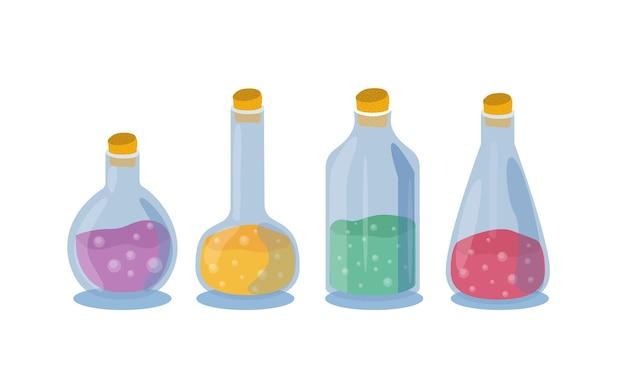 Ensemble d'icônes de bouteille de potion magique isolé sur illustration vectorielle fond blanc