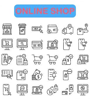 Ensemble d'icônes de boutique en ligne, style de contour