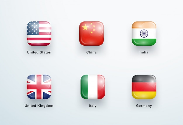 Ensemble d'icônes de boutons brillants carrés drapeaux nationaux
