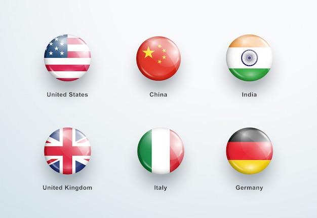 Ensemble d'icônes de boutons brillants ronds drapeaux nationaux