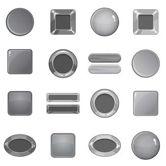 Ensemble d'icônes de boutons web vide, style monochrome