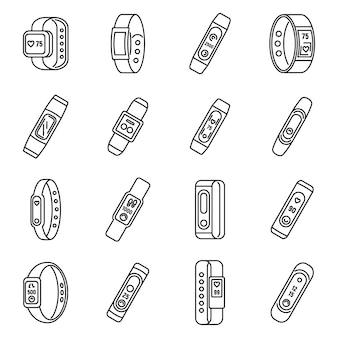 Ensemble d'icônes de bracelet de fitness sport