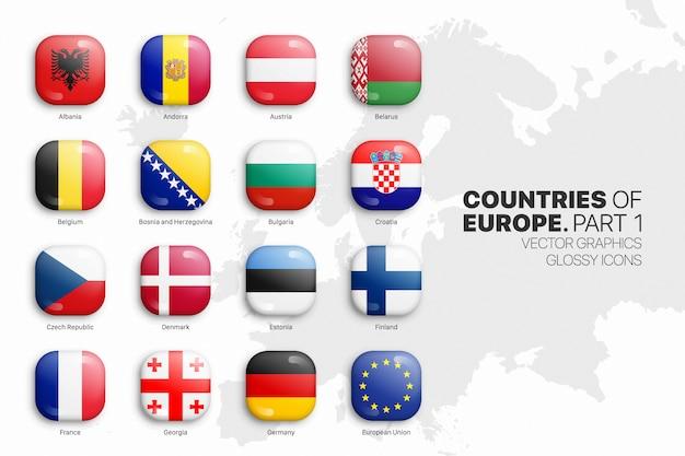 Ensemble d'icônes brillant 3d de drapeaux de pays européens