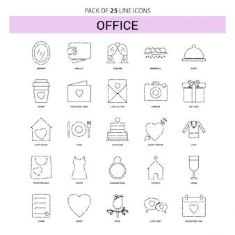 Ensemble d'icônes de bureau - style de contour en pointillé