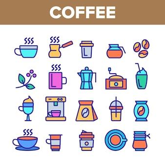Ensemble d'icônes café équipement signe