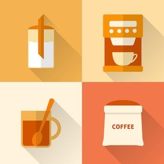 Ensemble d'icônes de café plat