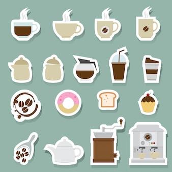 Ensemble d'icônes café et thé