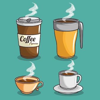 Ensemble d'icônes de café