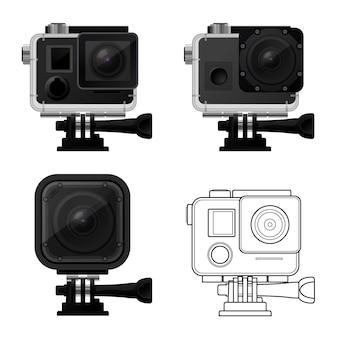 Ensemble d'icônes de caméra d'action dans un boîtier étanche - icône de caméra de sport