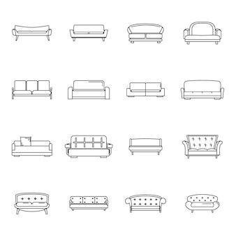 Ensemble d'icônes canapé chaise salle canapé