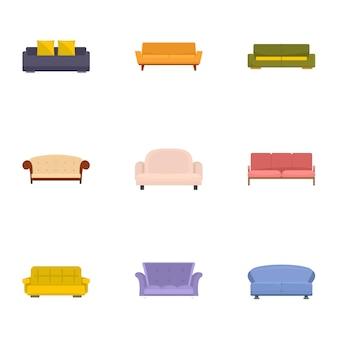 Ensemble d'icônes de canapé-lit, style de bande dessinée