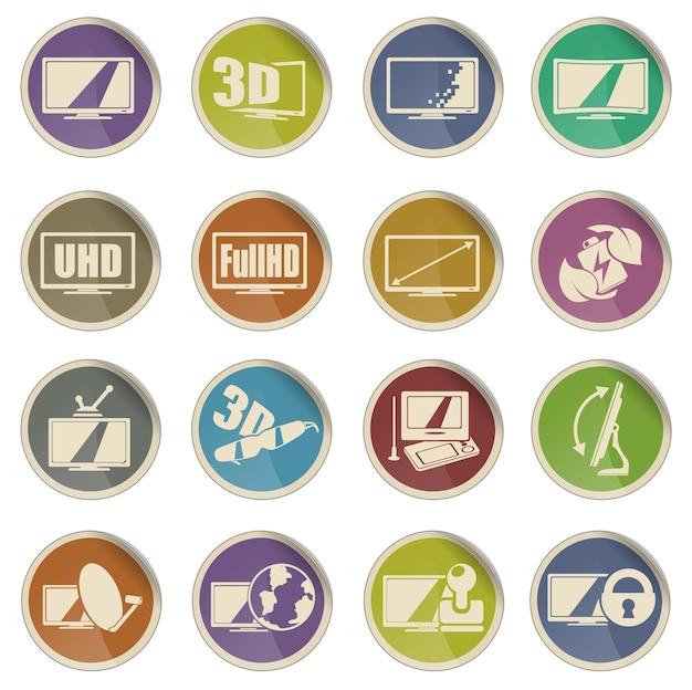 Ensemble d'icônes de caractéristiques et de spécifications de télévision vectorielle