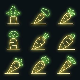 Ensemble d'icônes de carotte. ensemble de contour d'icônes vectorielles carottes couleur néon sur fond noir