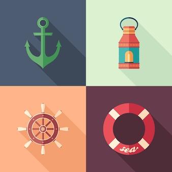 Ensemble d'icônes carrées plates d'été