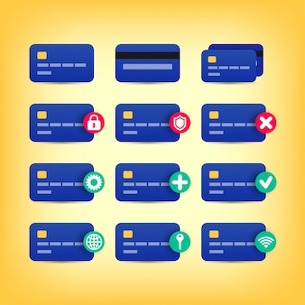 Ensemble d'icônes de carte de crédit colorées isolé sur fond jaune. shopping simple pictogrammes plats. pour le site web, la conception, les applications mobiles