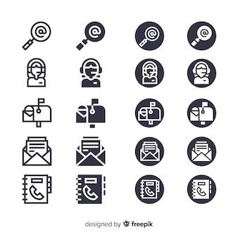 Ensemble d'icônes de carte de visite