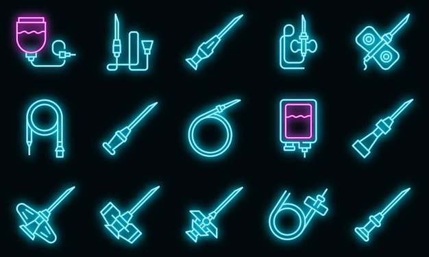 Ensemble d'icônes de cathéter. ensemble de contour d'icônes vectorielles de cathéter couleur néon sur fond noir