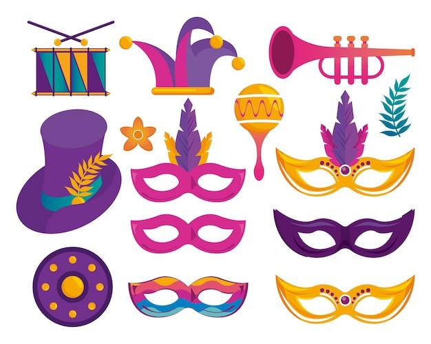 Ensemble d'icônes de célébration de fête de carnaval mardi gras