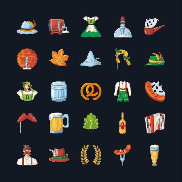 Ensemble d'icônes de la célébration de l'oktoberfest sur la conception de fond noir