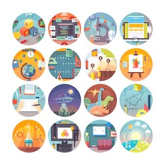 Ensemble d'icônes de cercle éducation et science. sujets et disciplines scientifiques. collection d'icônes.