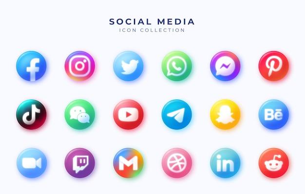 Ensemble d & # 39; icônes de cercle de médias sociaux