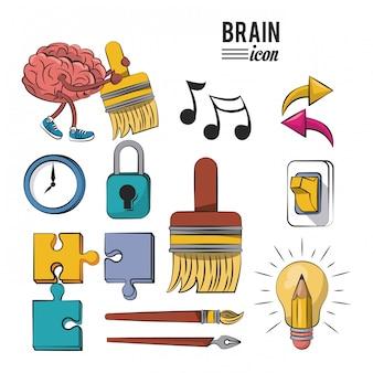 Ensemble d'icônes de cerveaux humains vector design graphique d'illustration