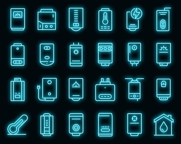 Ensemble d'icônes de chaudière. ensemble de contour d'icônes vectorielles de chaudière neoncolor sur fond noir