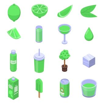 Ensemble d'icônes de chaux, style isométrique