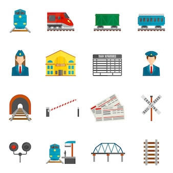 Ensemble d'icônes de chemin de fer