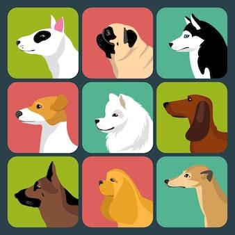 Ensemble d'icônes de chiens différents dans un style plat.