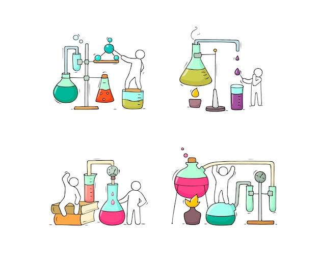 Ensemble d'icônes chimiques avec des travailleurs. illustration de dessin animé dessiné à la main