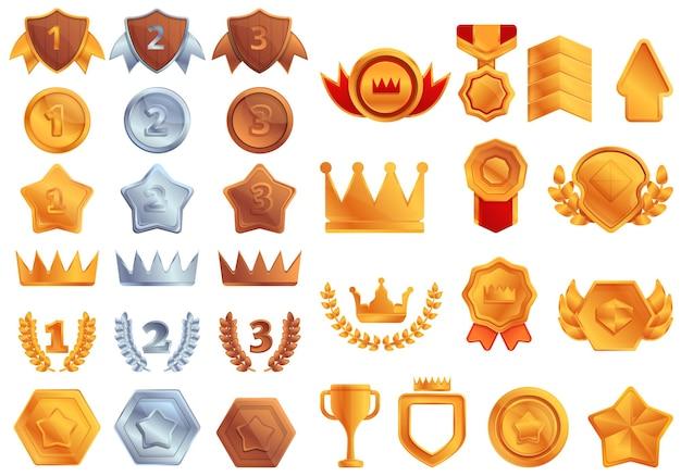 Ensemble d'icônes de classement. ensemble de dessin animé d'icônes de classement