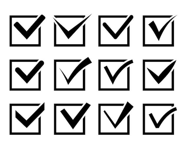 Ensemble d'icônes de coche. cases à cocher noires sur fond blanc. illustration
