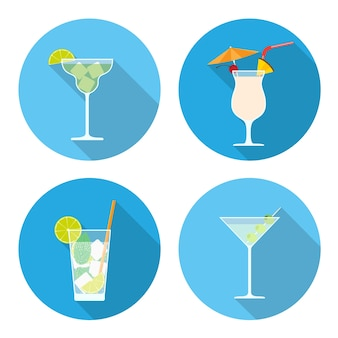 Ensemble d'icônes de cocktails, illustration de style