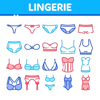 Ensemble d'icônes de collection de culottes de lingerie
