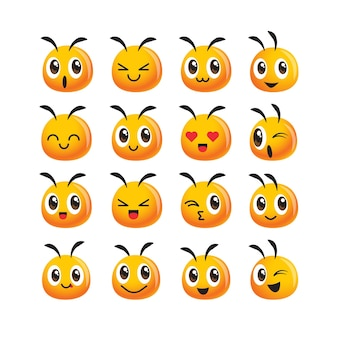 Ensemble d'icônes de collection d'emoji d'abeille mignon avec une expression différente