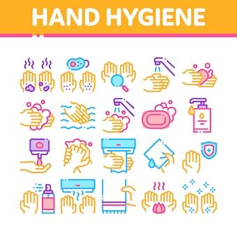 Ensemble d'icônes de collection hygiène saine main