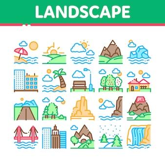 Ensemble d'icônes de collection de lieux de voyage paysage
