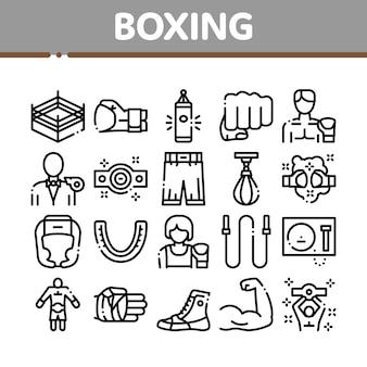 Ensemble d'icônes de collection d'outils de sport de boxe